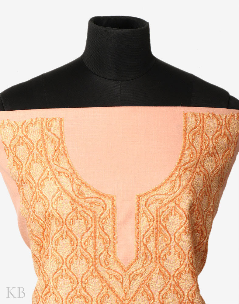 Tone On Tone Peachy Hand Embroidered Cotton Suit - Kashmir Box