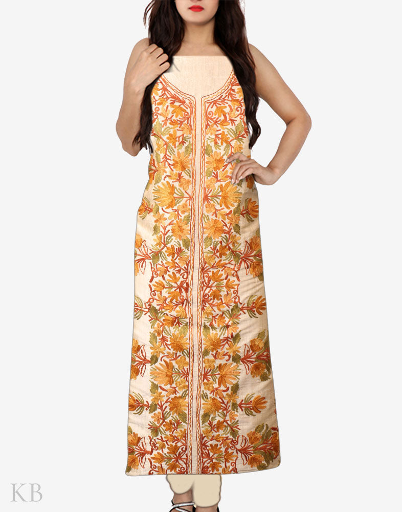 Golden Kasheeda Work Silk Suit