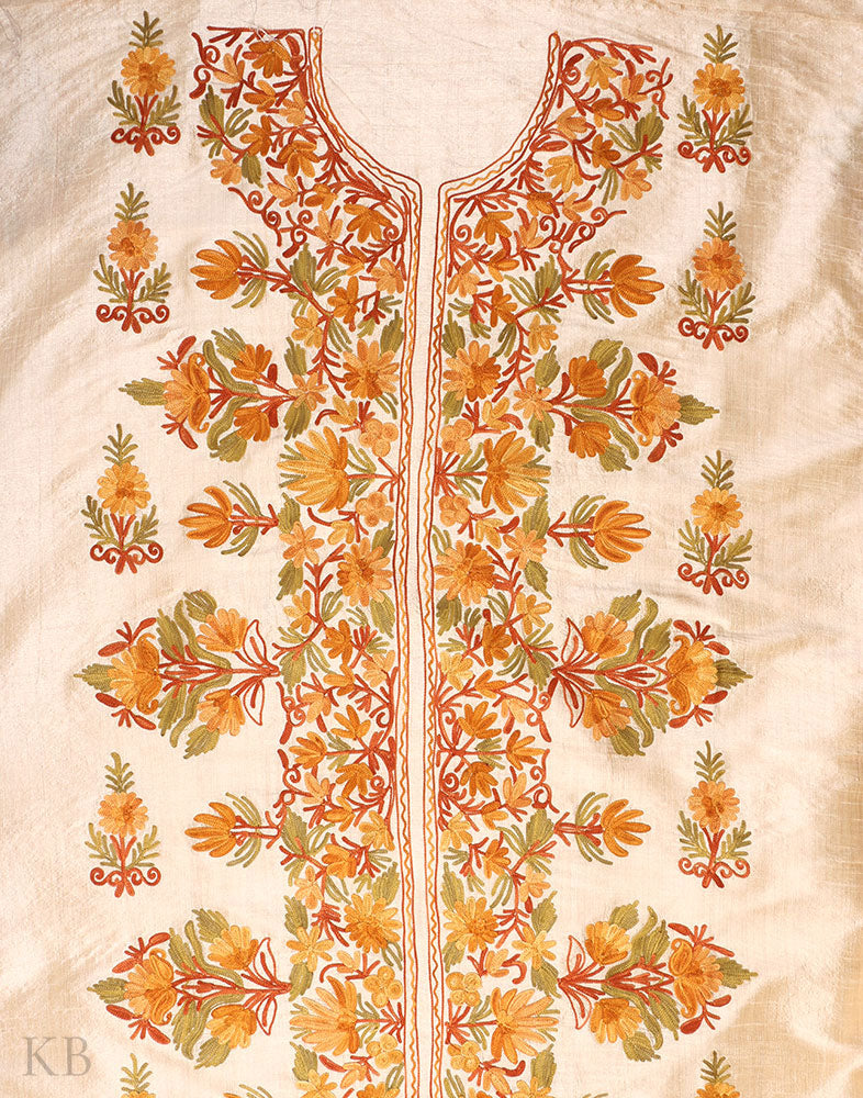 Golden Kasheeda Work Silk Suit - Kashmir Box