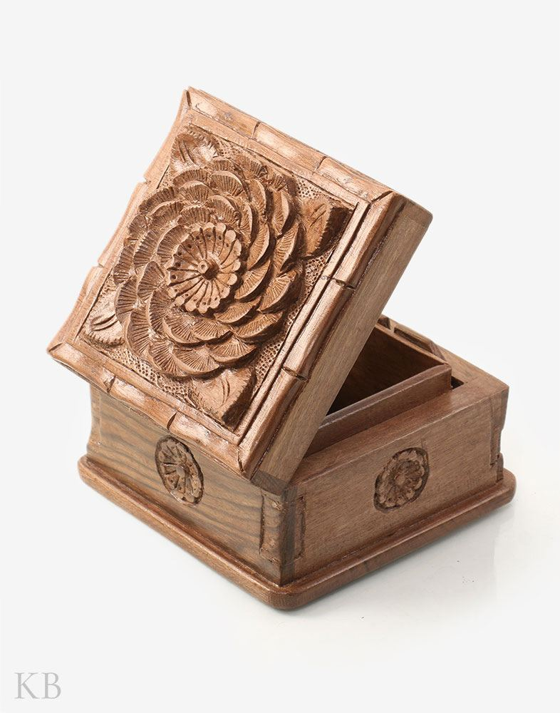 Vintage Flower Walnut Wood Box