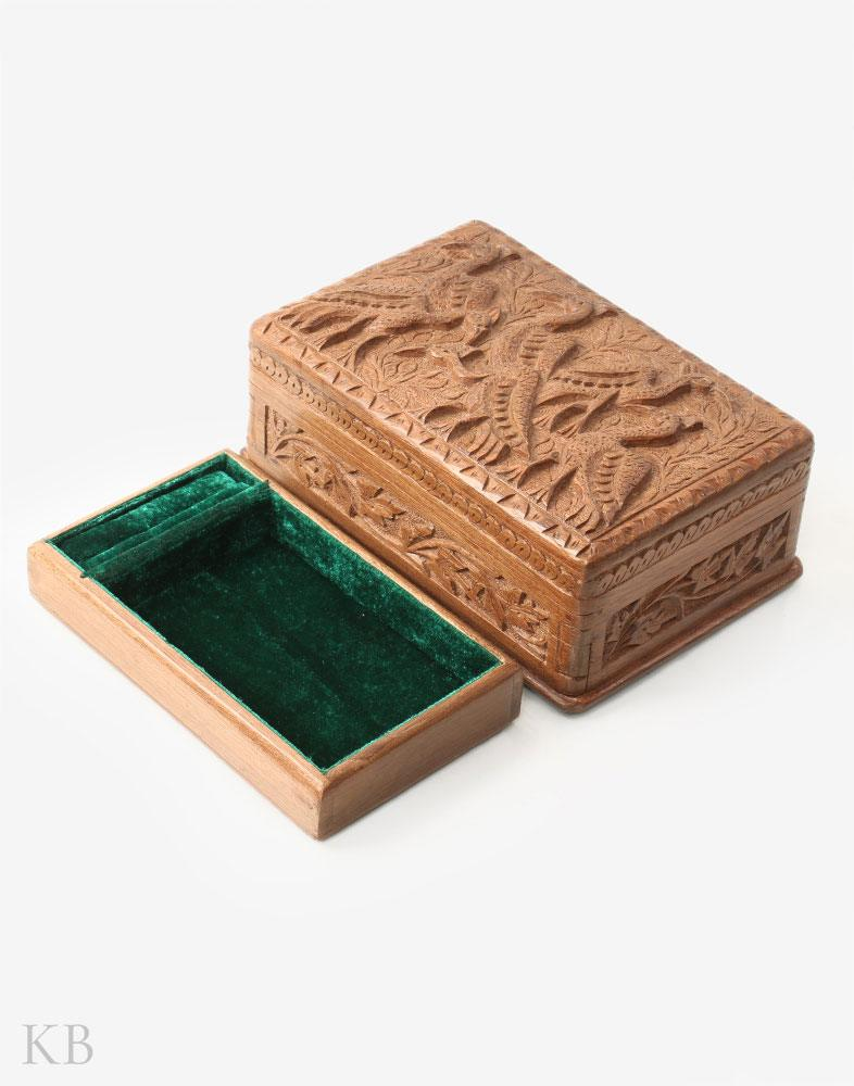 Flora And Fauna Walnut Wood Box