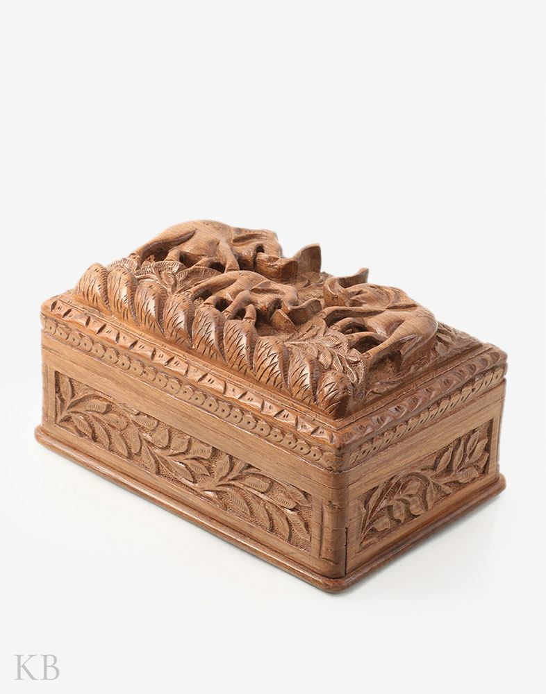 Elephant Triad Walnut Wood Box