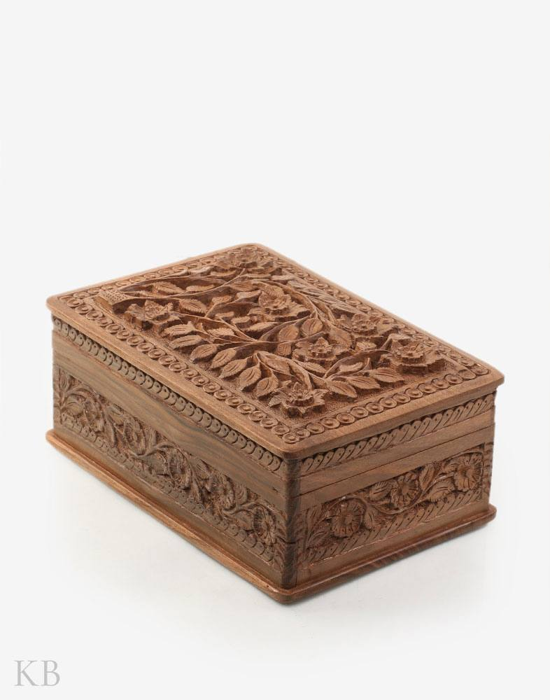 Flower Sprout Walnut Wood Box