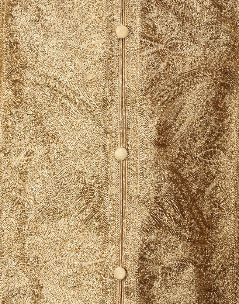 Gold Beige Zari Embroidered Silk Suit