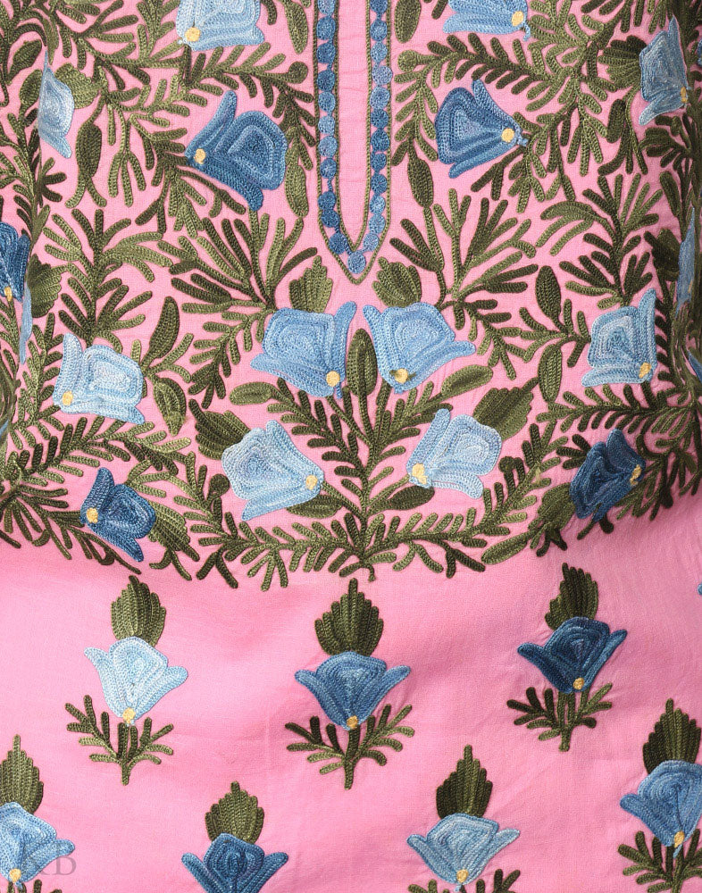 Rose Pink Aari Embroidered Cotton Suit