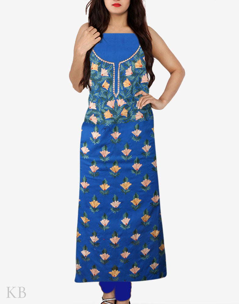 Navy Blue Aari Embroidered Cotton Suit