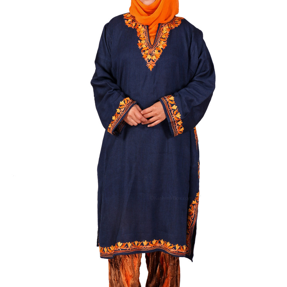 Navy Blue Wool Aari Embroidered Pheran