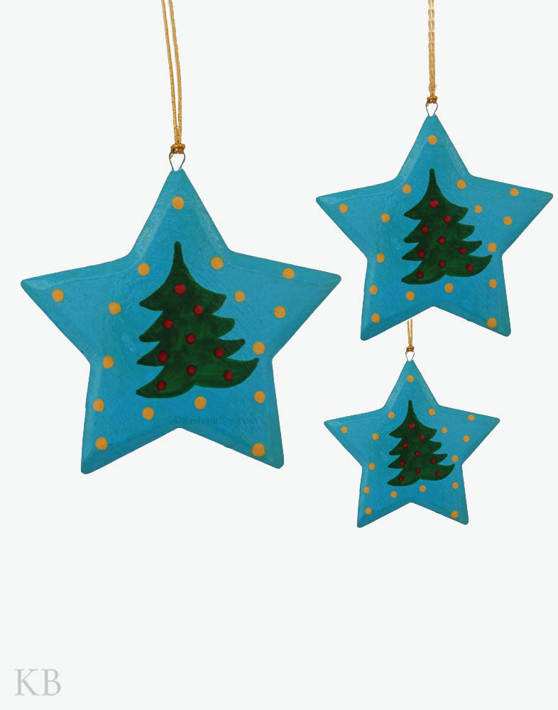 Paper Mache Blue Santa Star Set