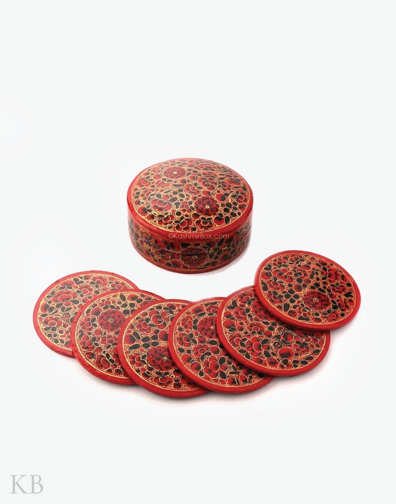 Red Black Floral Coaster Set Box