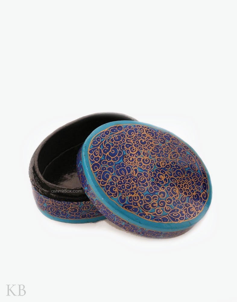 Blue Floral Oval Pin Box