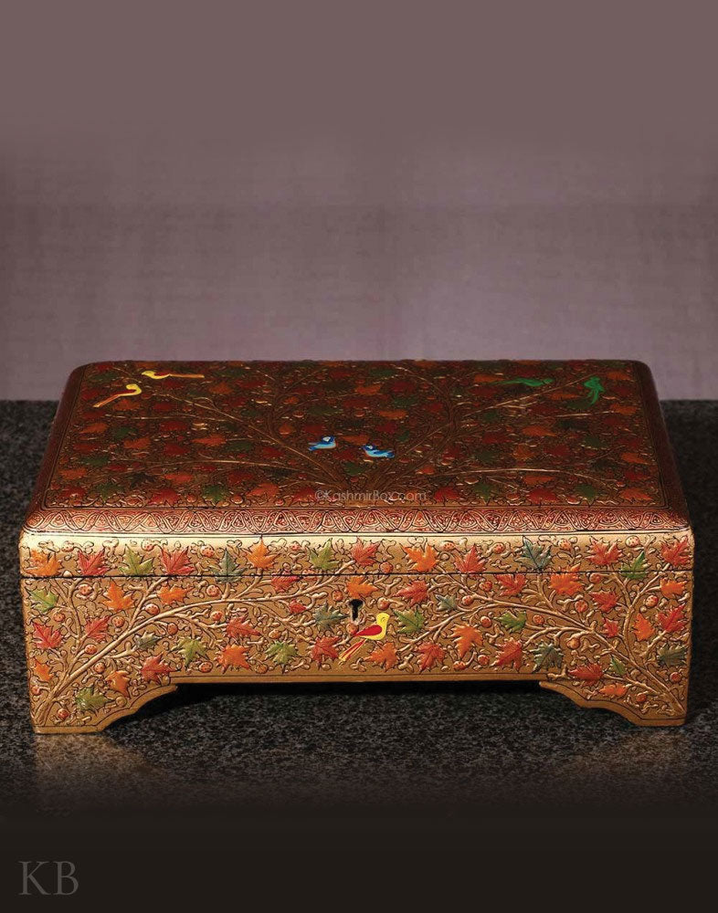 Golden  Chinar Embossed Jewelry Box