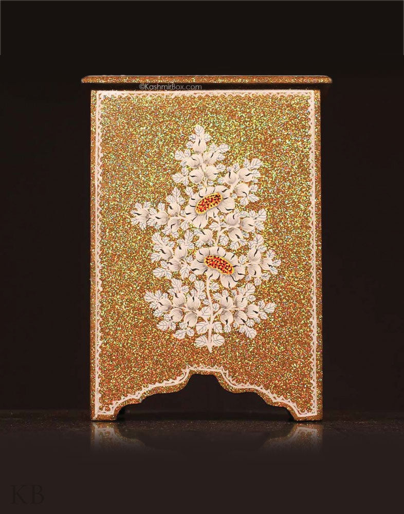 Golden Glitter Floral Jewelry Cabinet