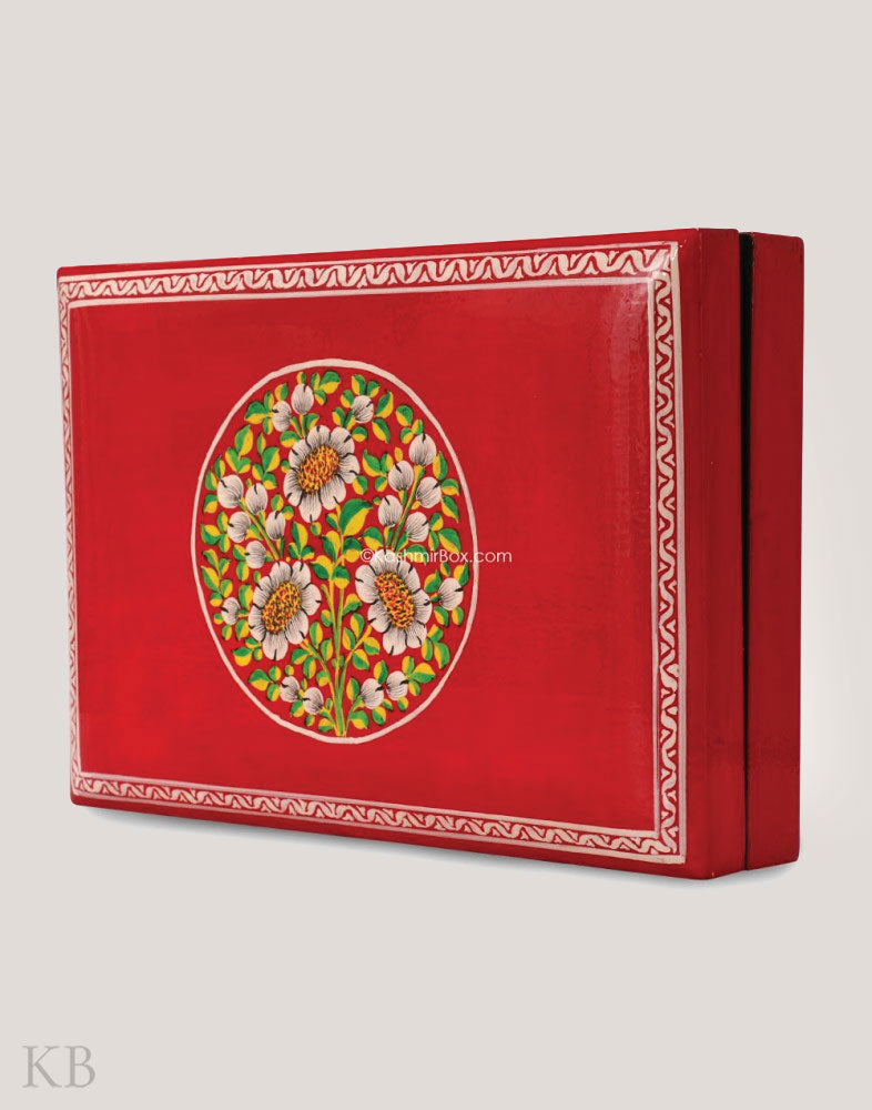 Red Floral Paper Mache Utility Box