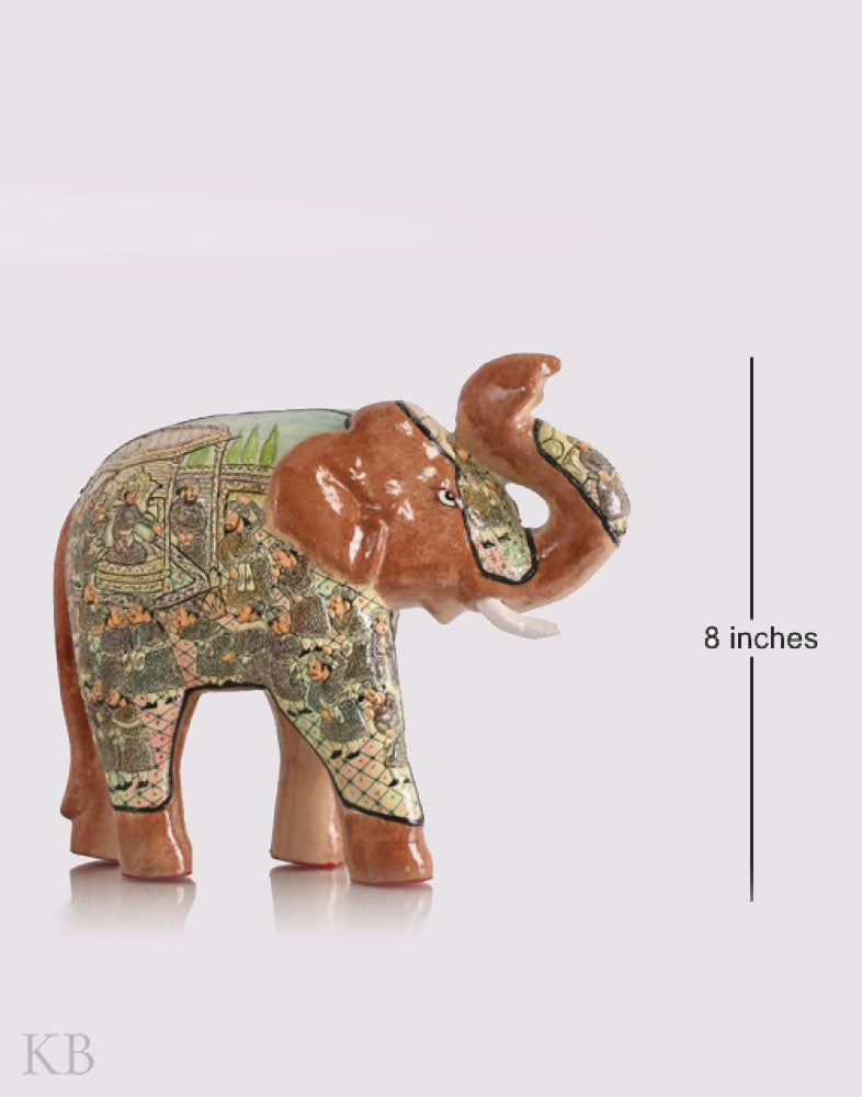 Brown Royal Court Embossed Paper Mache Elephant