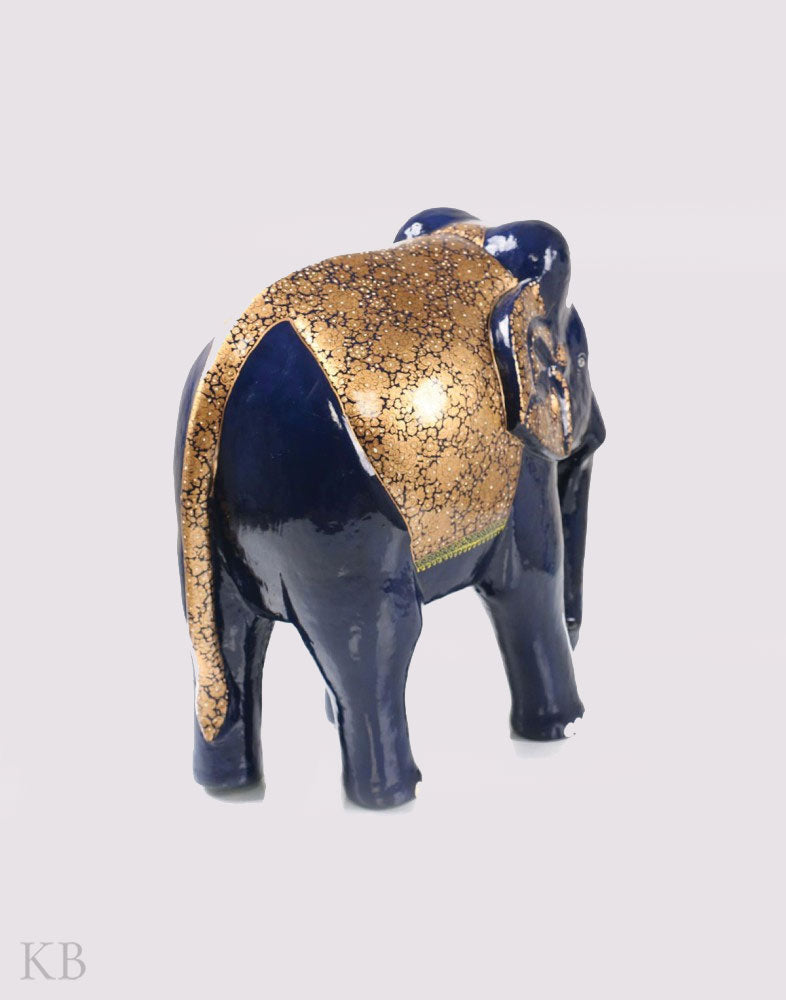 Navy Blue Grand Saddled Paper Mache Elephant