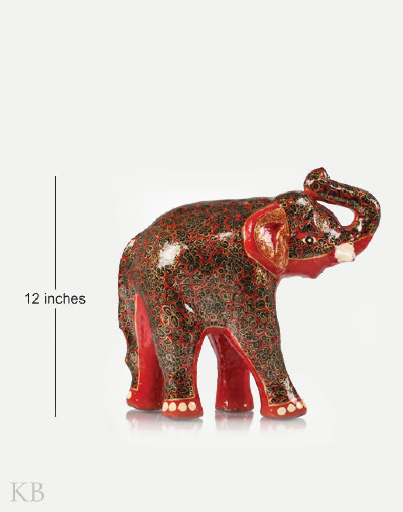Red Decorative Paper Mache Elephant