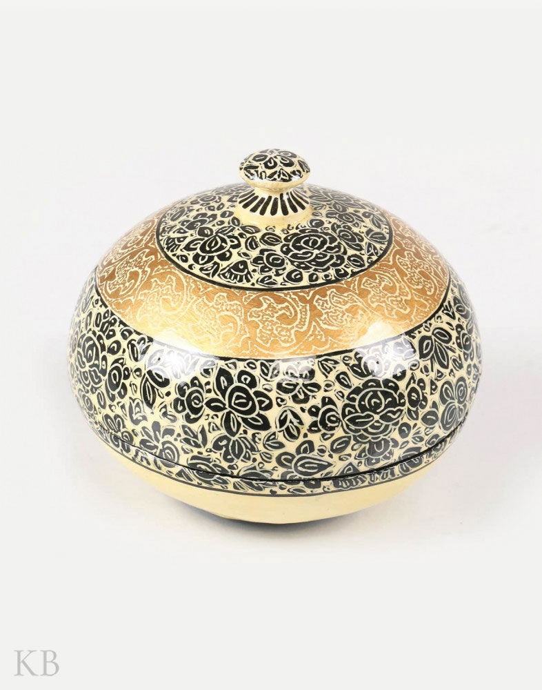 Cream Abstract Flower Paper Mache Powder Box - Kashmir Box