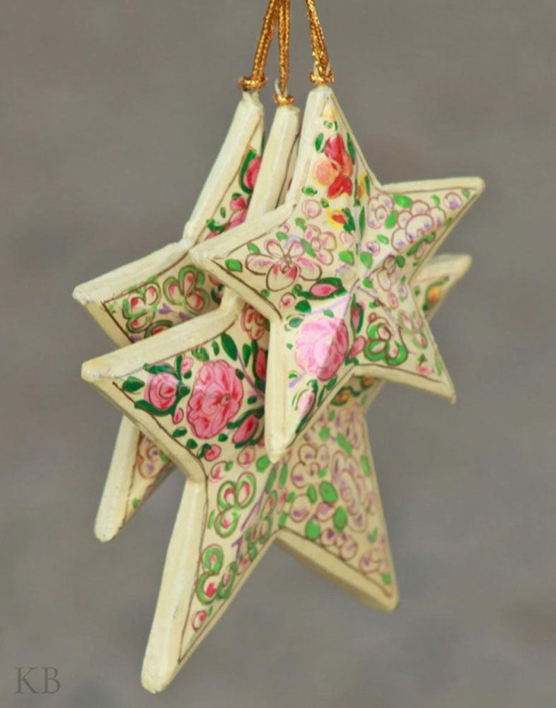 Cream Floral Paper Mache Star Set