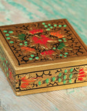 Golden Chinar Paper Mache Box - Kashmir Box