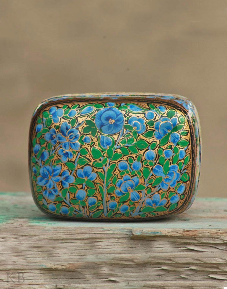 Myrtle Flower Paper Mache Box - Kashmir Box