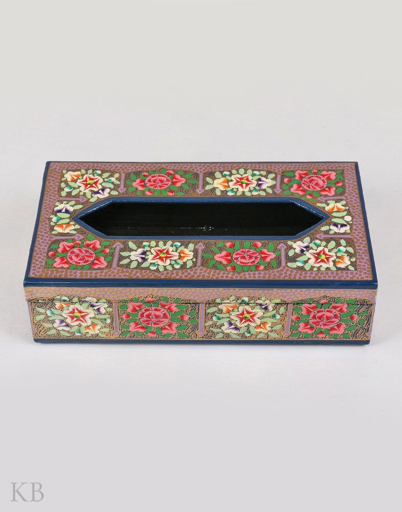 Navy Flower Paper Mache Tissue Holder - Kashmir Box