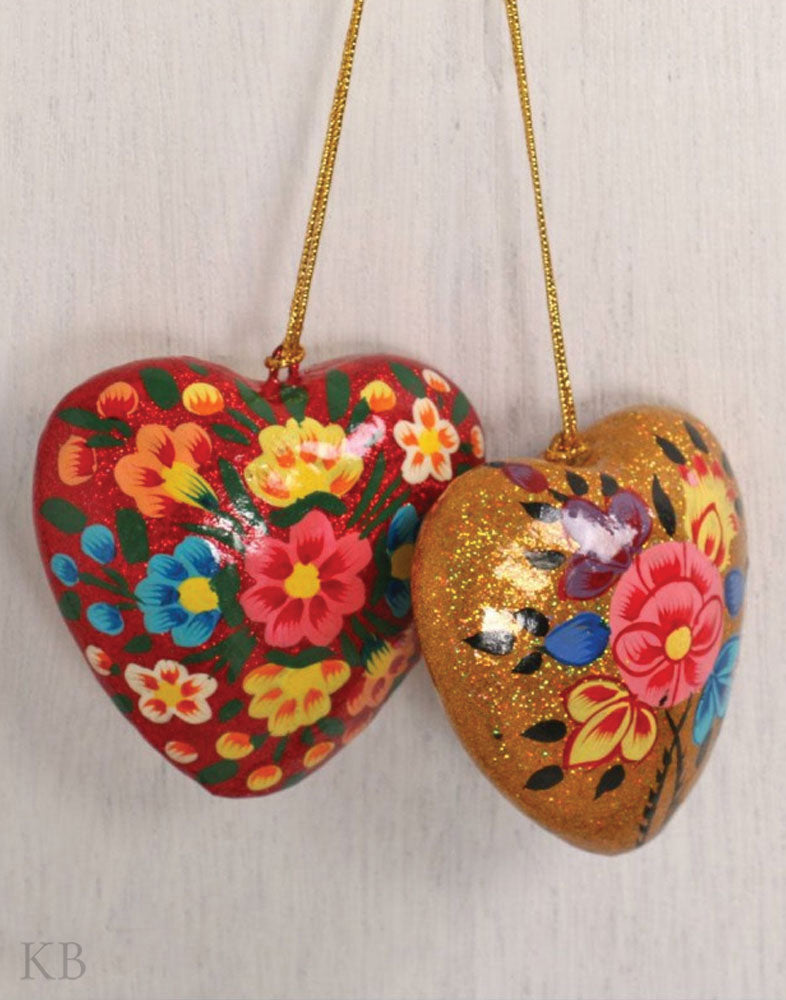 Sparkled Assorted Heart Hangings (Set of 2) - Kashmir Box