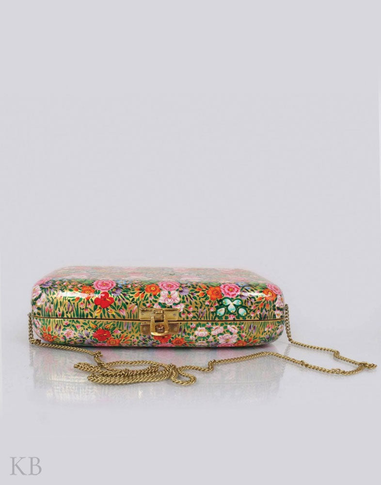 Golden Hazara Paper Mache Clutch - Kashmir Box