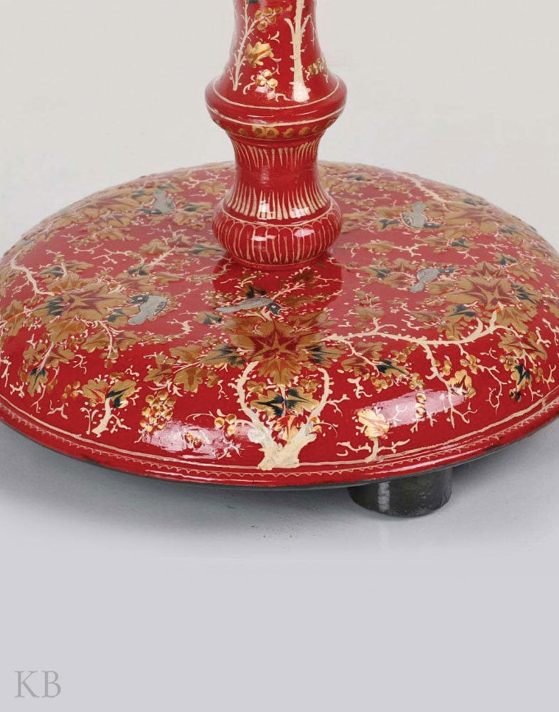 Red Floral Paper Mache Table Lamp