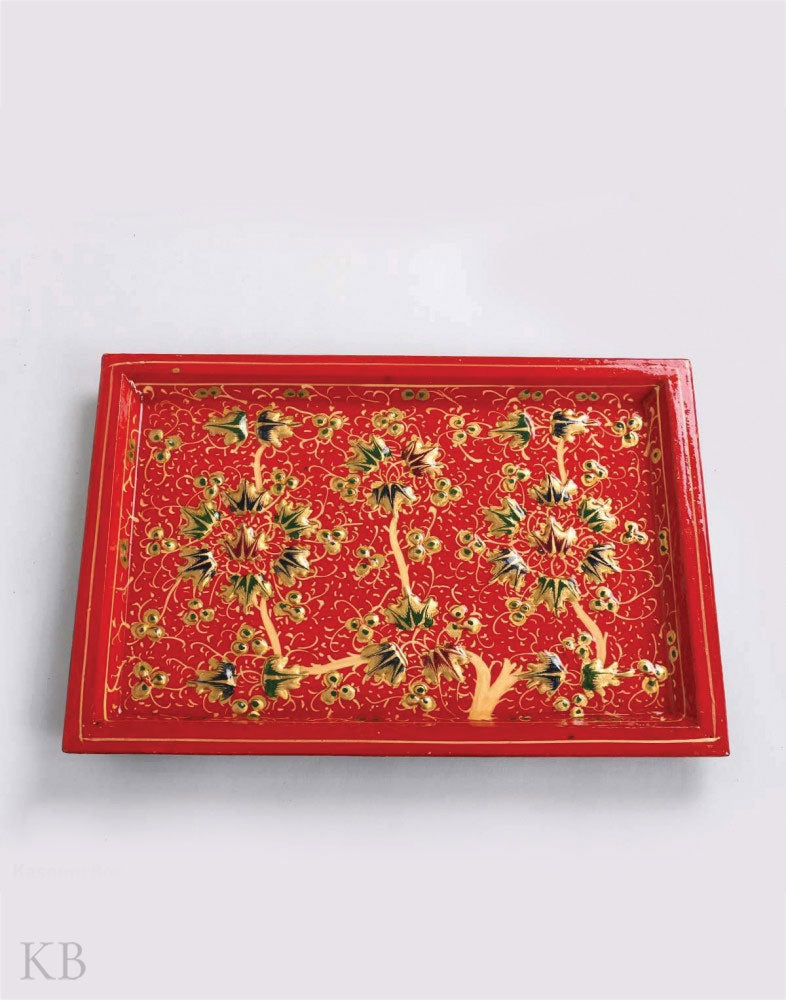 Red Embossed Chinar Paper Mache Tray