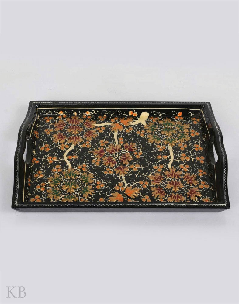 Black Floral Paper Mache Serving Tray