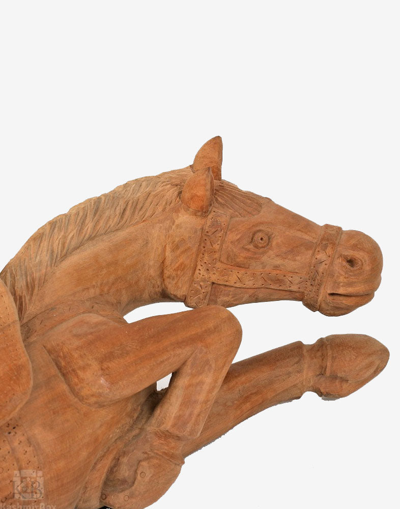 Handmade Walnut Wood Saddled Horse