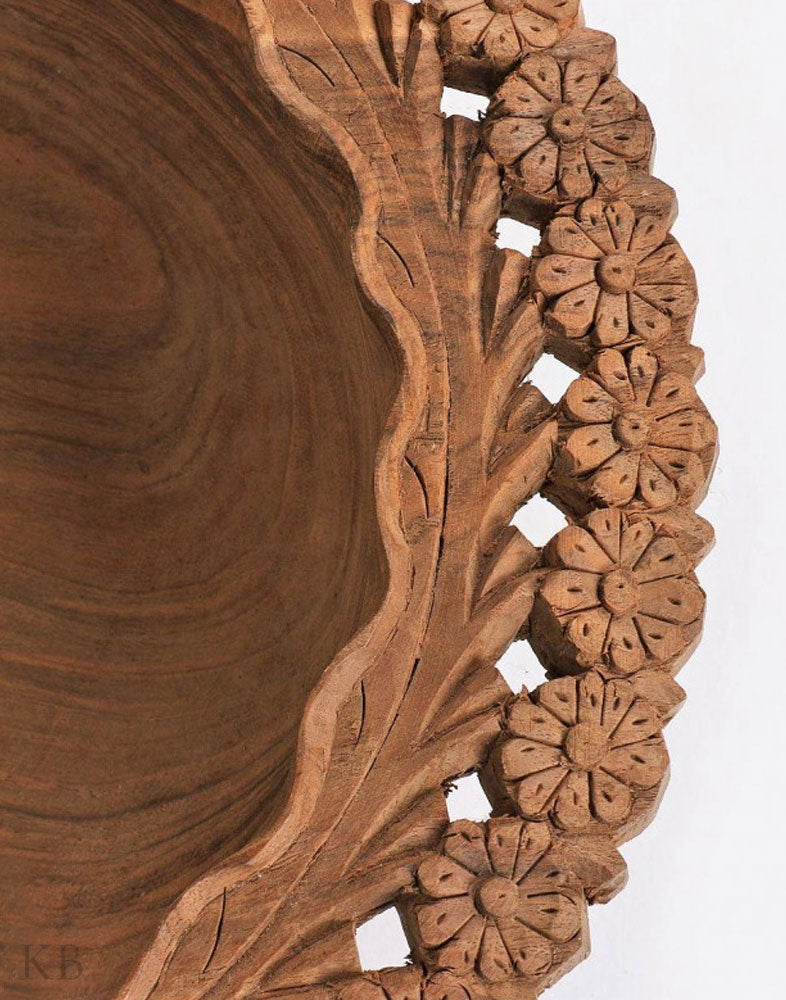 Hand Engraved Floral Walnut Wood Bowl