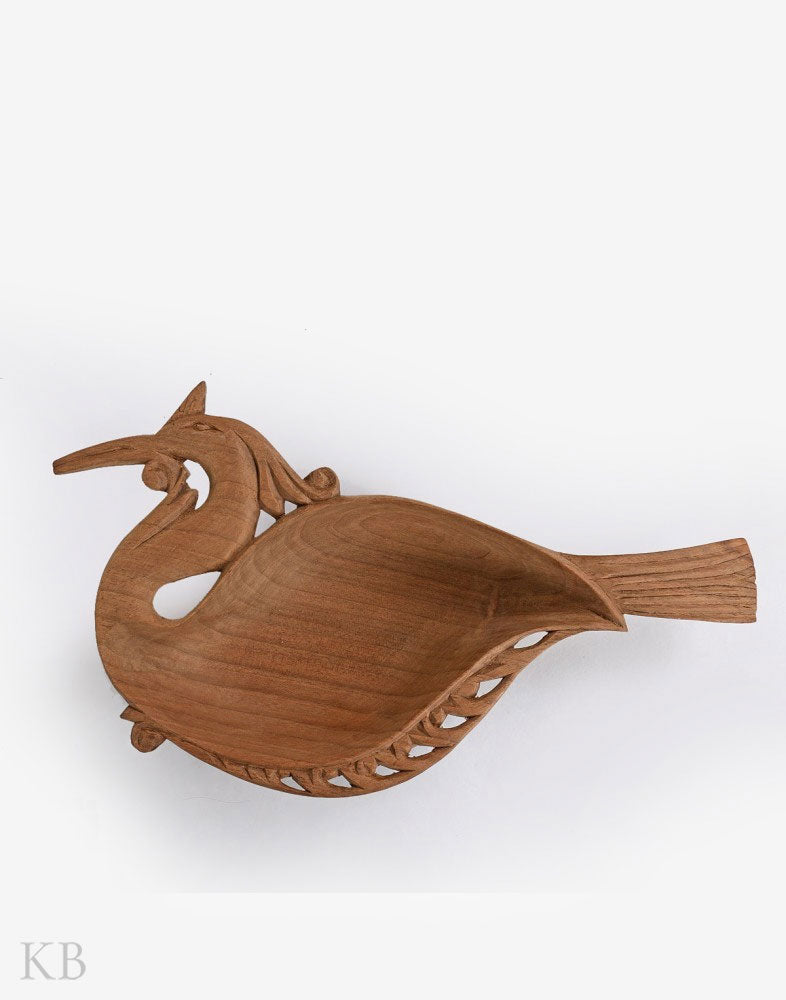 Walnut Wood Handmade Bird Bowl - Kashmir Box