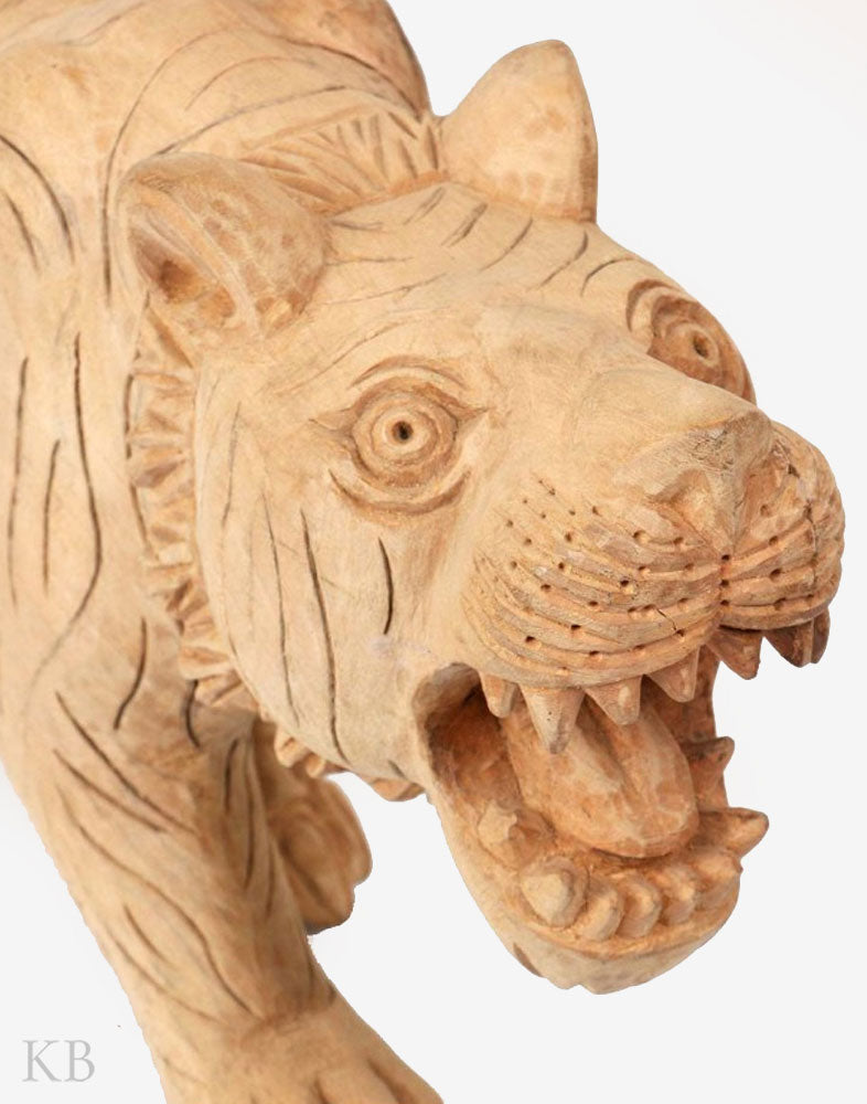 Walnut Wood Ferocious Carved Tiger