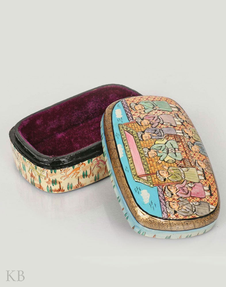 Mughal Folklore Embossed Paper Mache Box - Kashmir Box