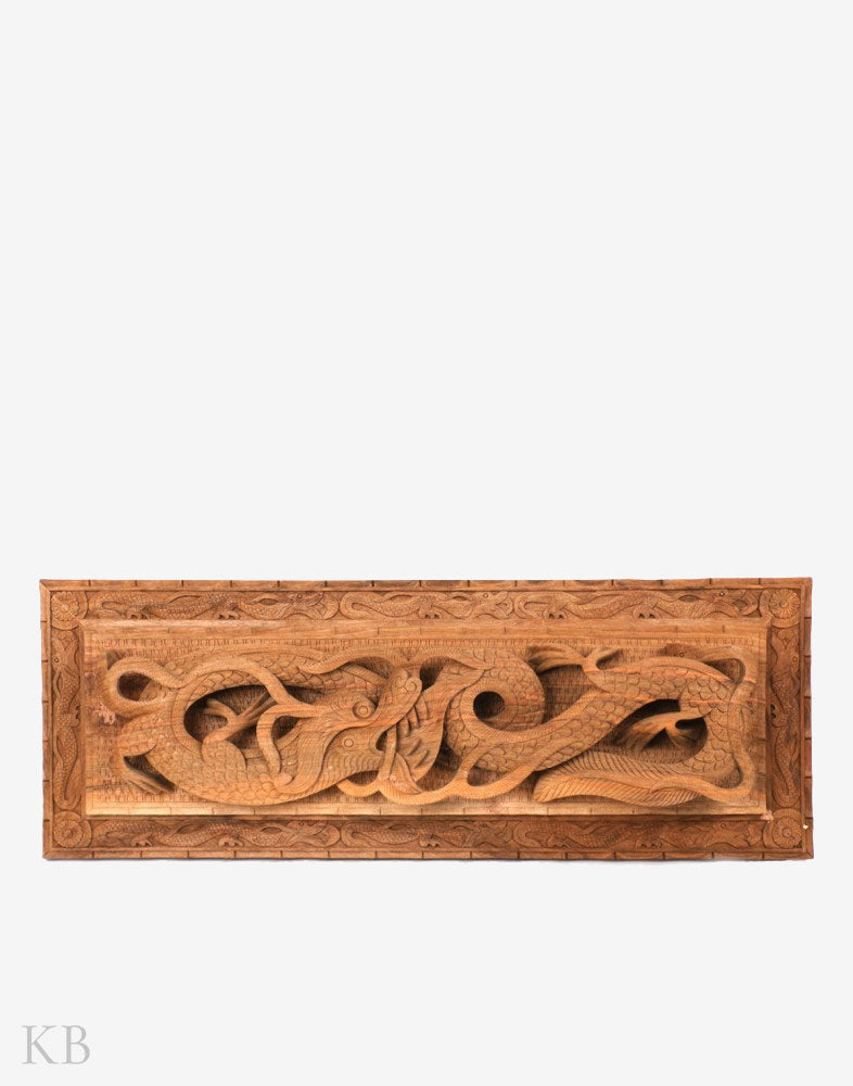 Hand Engraved Coiled Dragon Walnut Wood Wall Plate