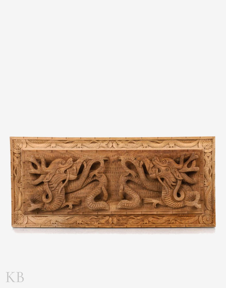 Coiled Dragon Pair Handcrafted Walnut Wood Wall Plate
