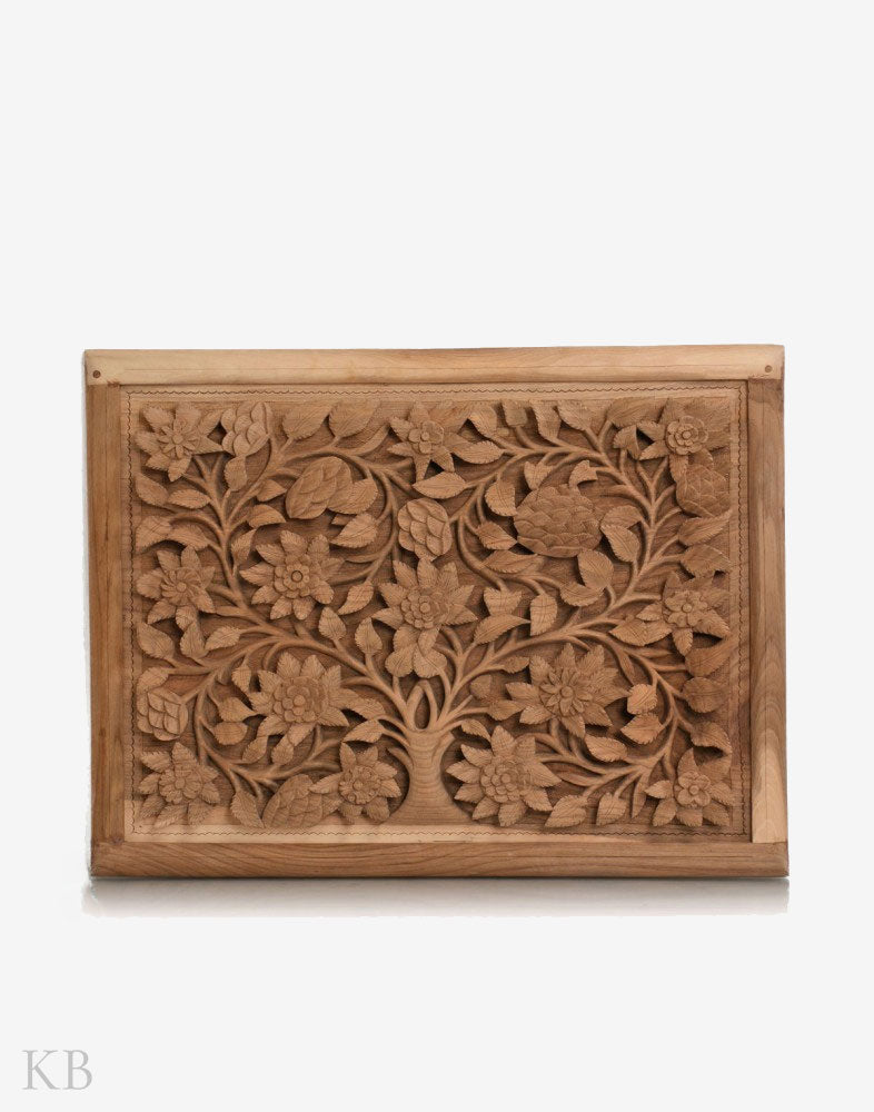 Dense Flowered Vine Walnut Wood Carved Wall Plate