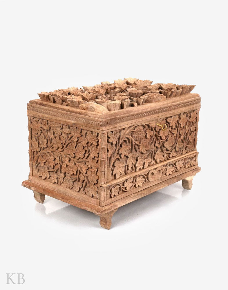 Walnut Wood Chinar Engraved Treasure Chest