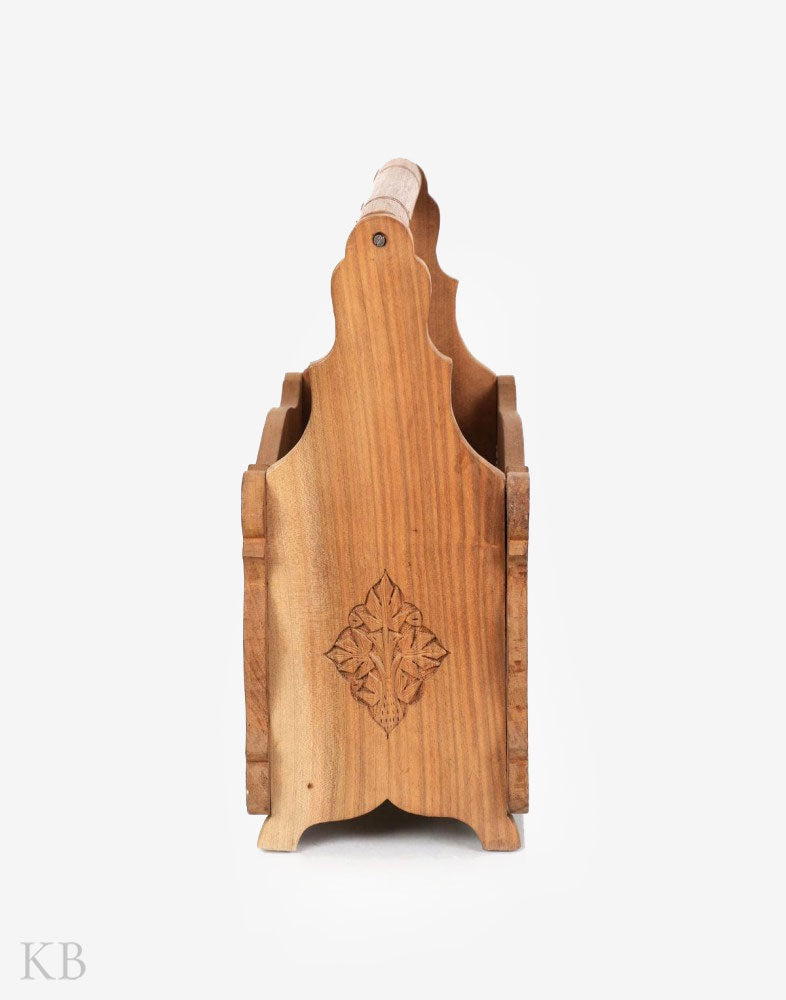 Walnut Wood Floral Engraved Magazine Holder