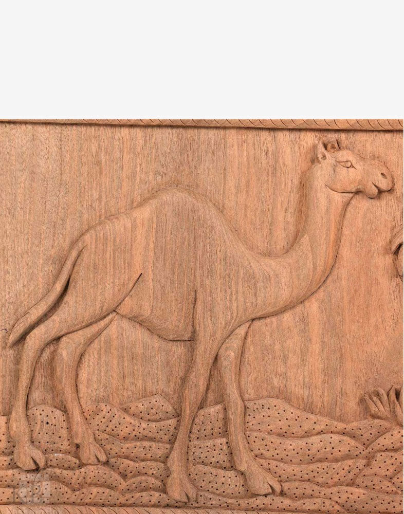 Desert Life Engraved Walnut Wood Wall Panel