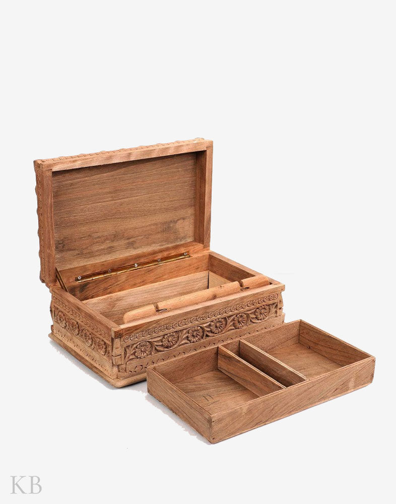 Carved Marigold Handmade Walnut Wood Jewelry Box