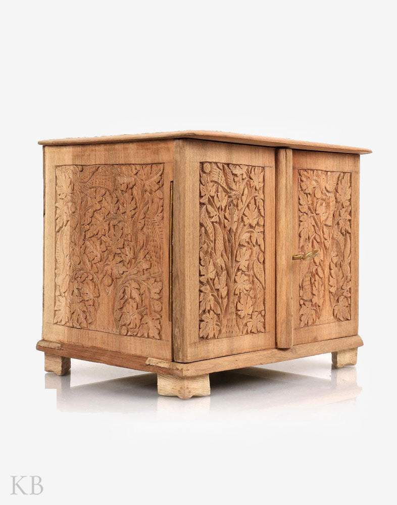 Walnut Wood Chinar Carved Jewellery Box