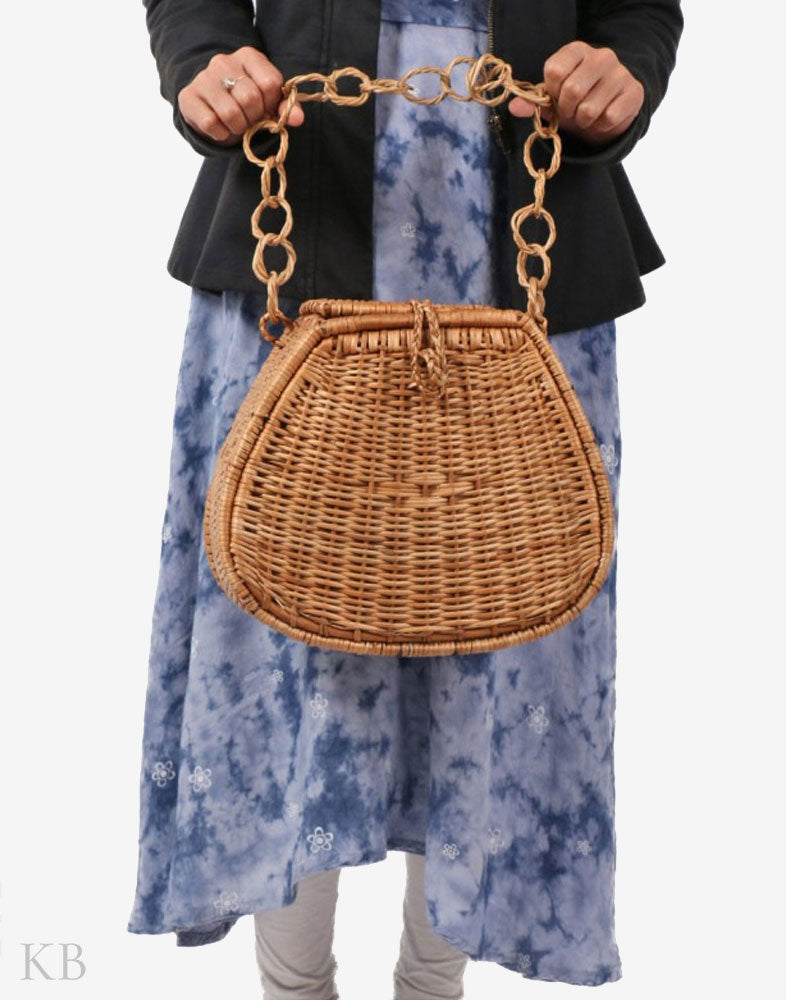 Chain Strapped Wicker Willow Handbag