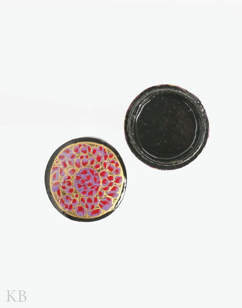 Purple Ruby Round Shaped Paper Mache Ring Case - Kashmir Box