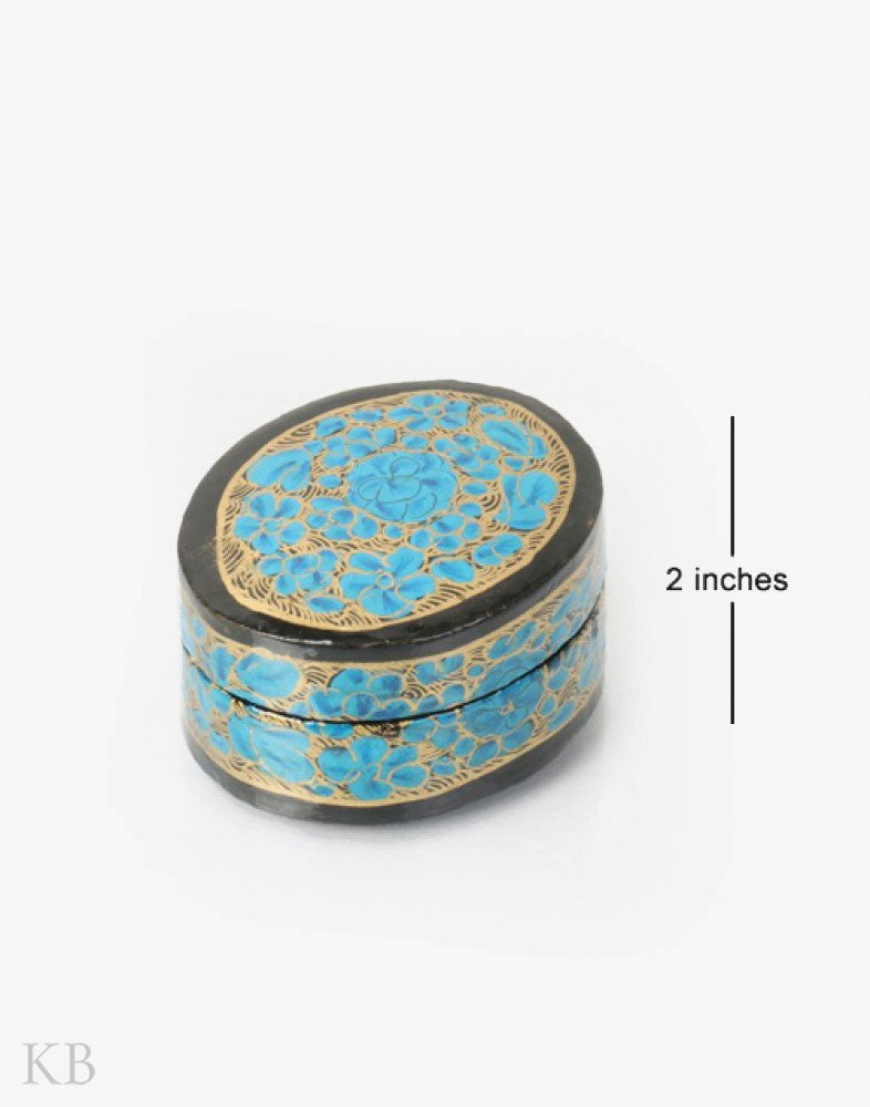 Blue Ruby Flower Oval Paper Mache Ring Box - Kashmir Box