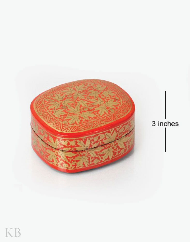 Red Chinar Motif Handcrafted Paper Mache Box - Kashmir Box