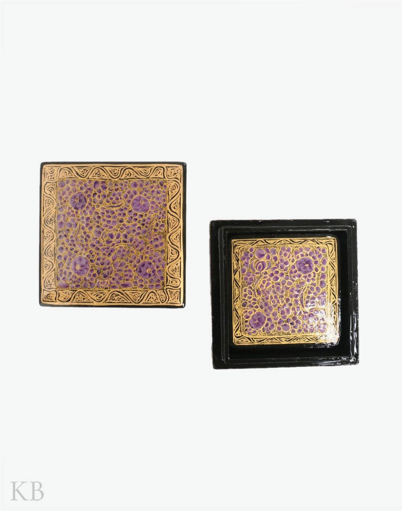 Purple Flowery Square Paper Mache Coaster Set