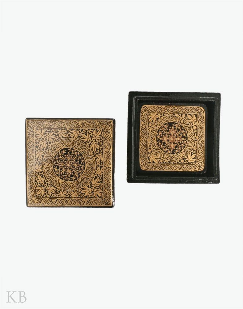 Black And Gold Square Paper Mache Coaster Set - Kashmir Box