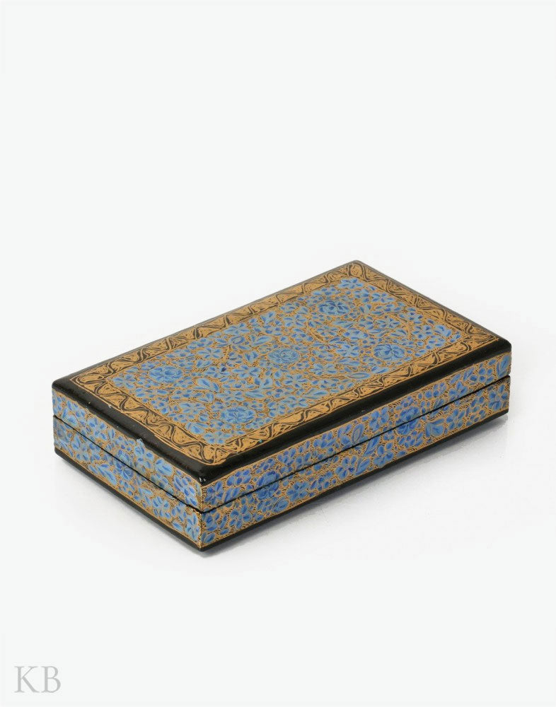 Blue Ruby Flower Handmade Paper Mache Flat Box